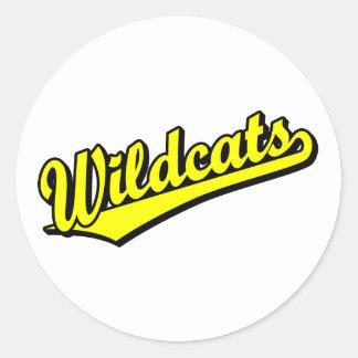 Wildcats script logo in gold classic round sticker