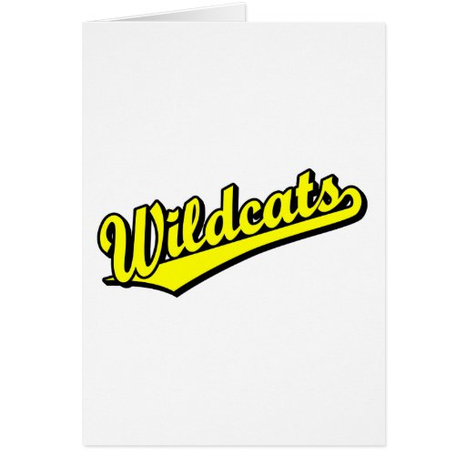 Wildcats script logo in gold greeting card
