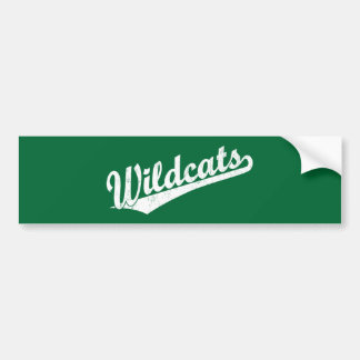 Wildcats script logo in gold in white car bumper sticker