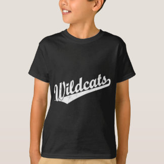 Wildcats script logo in gold in white T-Shirt