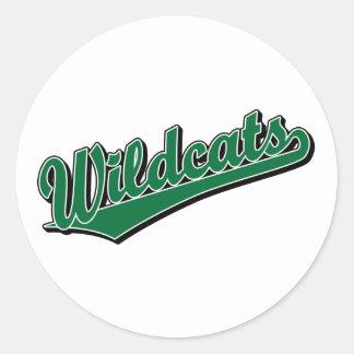 Wildcats script logo in green classic round sticker