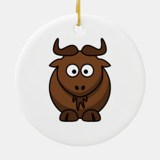 Wildebeast Cartoon Ceramic Ornament