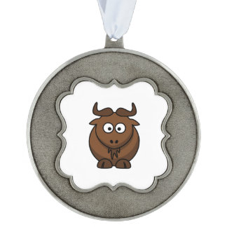 Wildebeast Cartoon Pewter Ornament