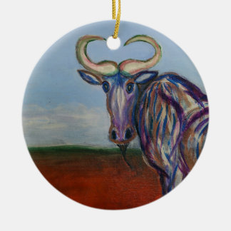 Wildebeest Ceramic Ornament