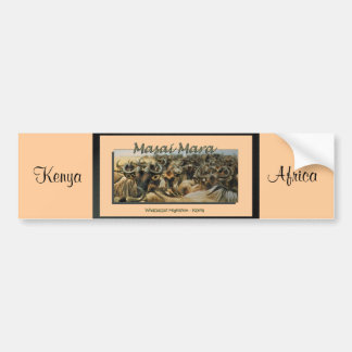 Wildebeest / gnu migration, safari bumper stickers