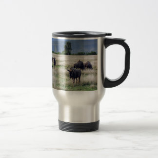 Wildebeest herd travel mug