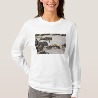 Wildebeest jumping into Mara River during T-Shirt