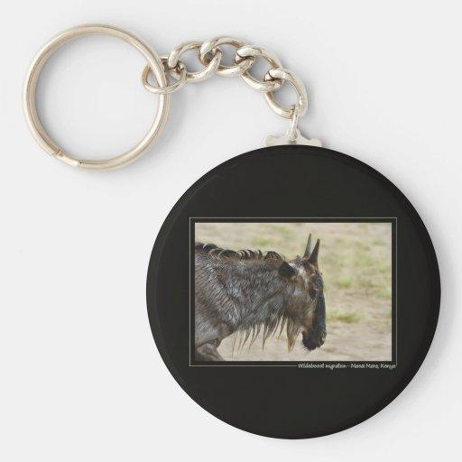 Wildebeest migration Kenya wildlife keychains