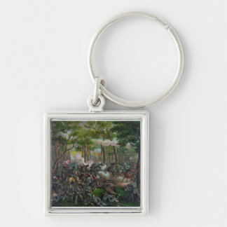 Wilderness Battle Silver-Colored Square Keychain