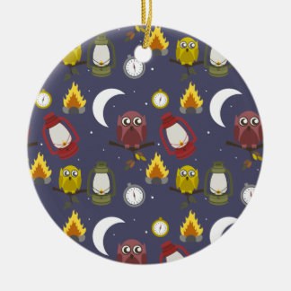 Wilderness Camping Theme Double-Sided Ceramic Round Christmas Ornament