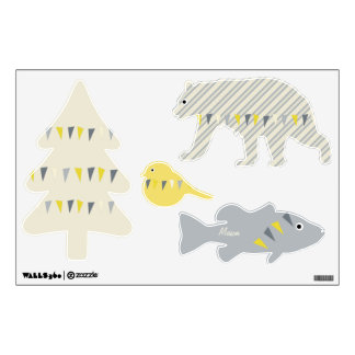 Wilderness Gray Yellow Ivory Bunting Wall Decal
