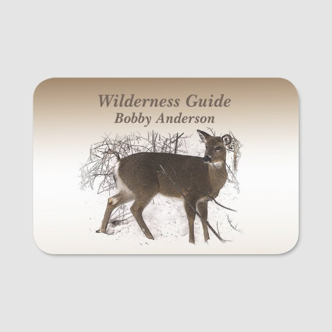 Wilderness Guide with Deer in Snow Name Tag