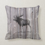 Wilderness Moose on Rustic Wood Cabin Throw Pillow