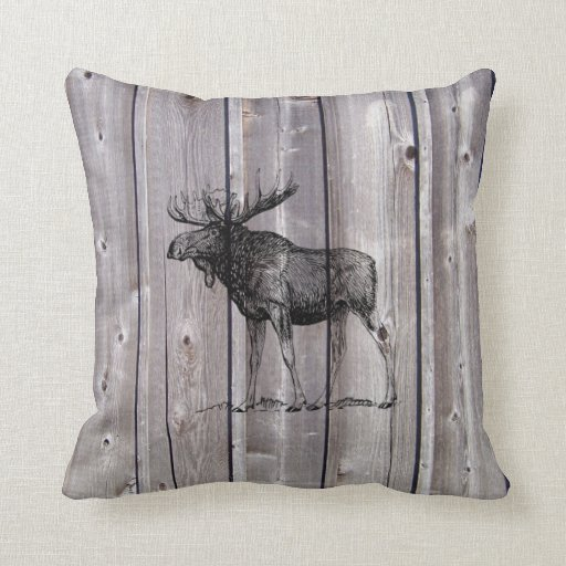 Wilderness Moose On Rustic Wood Cabin Throw Pillow Zazzle