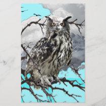 WILDERNESS OWL IN TREE &  BLUE  SKIES