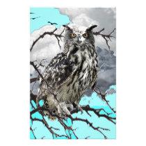 WILDERNESS OWL IN TREE &  BLUE  SKIES STATIONERY