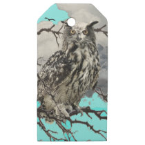 WILDERNESS OWL IN TREE &  BLUE  SKIES WOODEN GIFT TAGS