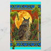 WILDERNESS OWL WITH FULL MOON PINE TREES