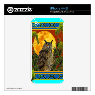 WILDERNESS OWL WITH FULL MOON PINE TREES DECAL FOR iPhone 4S