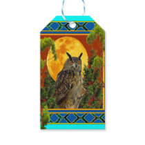 WILDERNESS OWL WITH FULL MOON PINE TREES GIFT TAGS