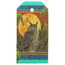 WILDERNESS OWL WITH FULL MOON PINE TREES WOODEN GIFT TAGS