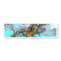WILDERNESS OWLS WITH TREEBLUES DESIGN GIFTS BUMPER STICKER