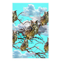 WILDERNESS OWLS WITH TREEBLUES DESIGN GIFTS STATIONERY