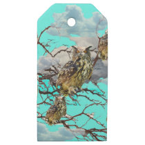 WILDERNESS OWLS WITH TREEBLUES DESIGN GIFTS WOODEN GIFT TAGS