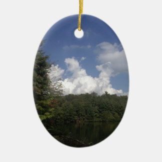 Wilderness Sky Double-Sided Oval Ceramic Christmas Ornament