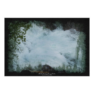 Wilderness Water-fall & River Water-color Painting Poster
