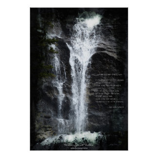 Wilderness Water-fall Water-color & Nature Poem Poster