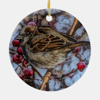 wilderness winter tree red berries wild bird ceramic ornament