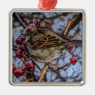 wilderness winter tree red berries wild bird metal ornament