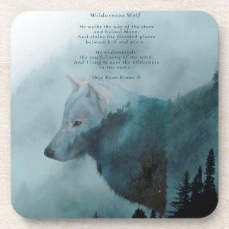 Wilderness Wolf & Eco Poem Drink Coaster