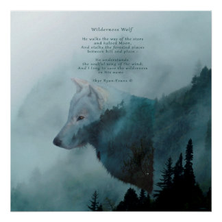 Wilderness Wolf & Poem Poster