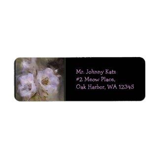 Wildflower 6 Black Return Address Label label