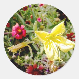 Wildflower amarillo pegatinas redondas
