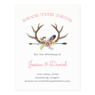 Wildflower Antlers and Arrow Save the Date Postcard
