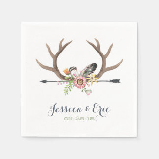 Wildflower Arrow and Antlers Paper Napkin
