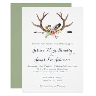 Wildflower Arrow and Antlers Wedding Card
