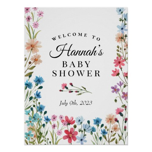 Wildflower Baby Shower Welcome Sign