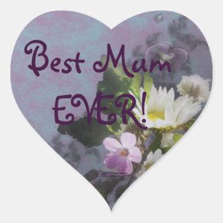 wildflower, Best Mum EVER! heart Heart Sticker