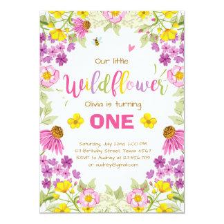 Wildflower birthday invitation Floral Girl pink