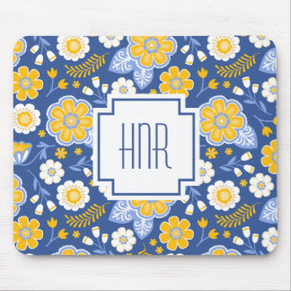 Wildflower Blue and YellowFloral Mousepad