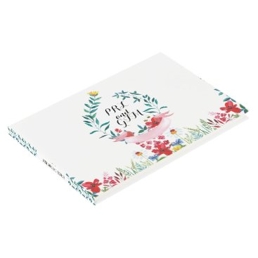 Beach Themed Wildflower Botanical Watercolor Wedding Guestbook