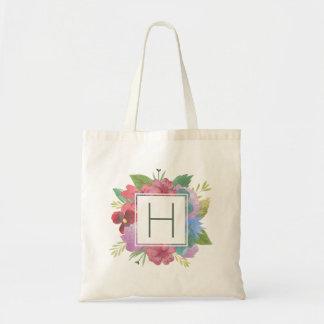 Wildflower Bouquet Monogram Tote Bag
