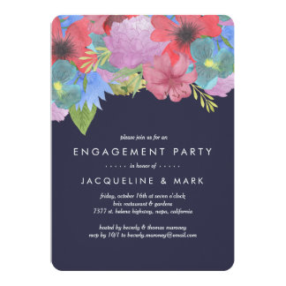 Wildflower Bouquet Navy | Engagement Party Card