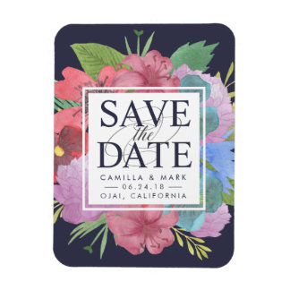 Wildflower Bouquet Save the Date Rectangular Photo Magnet