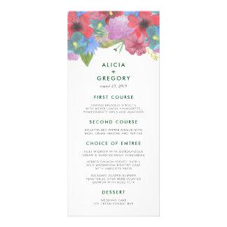 Wildflower Bouquet Wedding Menu Card