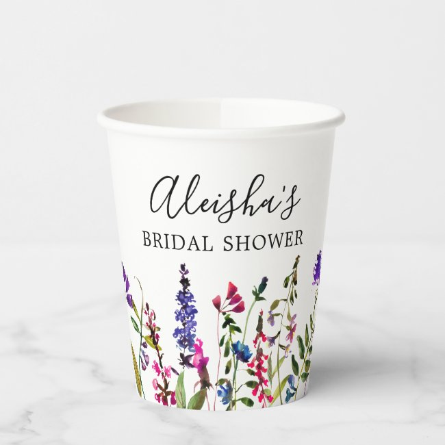 Wildflower Bridal Shower Paper Cups